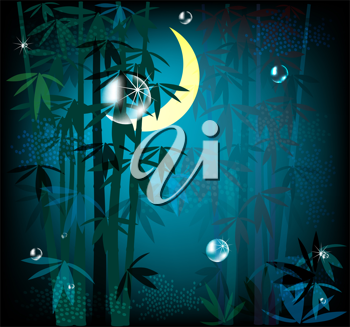 Royalty Free Clipart Image of a Tropical Forest at Night