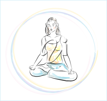 Royalty Free Clipart Image of a Woman Meditating