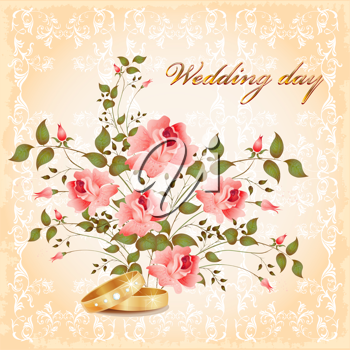 Royalty Free Clipart Image of a Wedding Card
