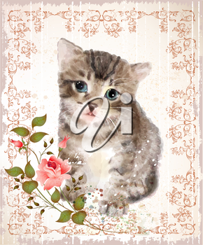 Fluffy kitten with roses and butterfly.  Vintage postcard.  Imitation of watercolor painting.