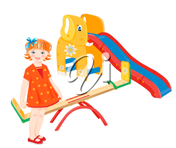 Ginger girl on the playground. Seesaw and  slider.