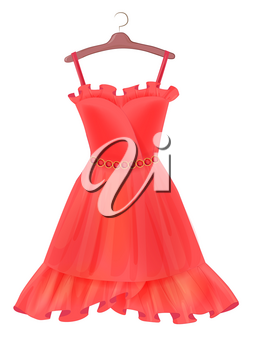 Red dress.  Outfit for party. Festive women's attire. Fashion cocktail dress on the hanger. Stylish female clothing. Summer clothing. Fancy dress to celebrate Christmas and New Year. Cocktail dress.