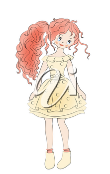 Hand drawn portrait of romantic girl in vintage dress. Fashion girl's clothing.  Sketch. Doodle.