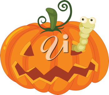 Royalty Free Clipart Image of a Worm in a Jack-o-Lantern
