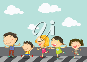 Royalty Free Clipart Image of Children Crossing a Road