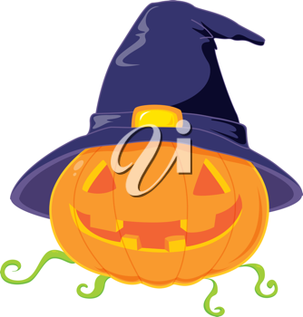 Royalty Free Clipart Image of a Jack-o-Lantern in a Witch's Hat