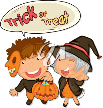 Royalty Free Clipart Image of Trick-or-Treaters