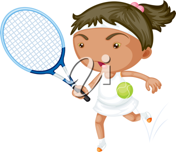 Royalty Free Clipart Image of a Girl Playing Tennis