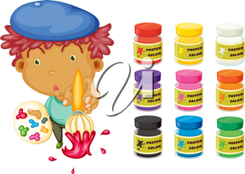 Royalty Free Clipart Image of a Boy With a Paintbrush and Paints