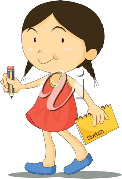 Royalty Free Clipart Image of a Little Girl With a Sketchbook and Pencil
