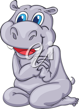 Cute cartoon hippo on white