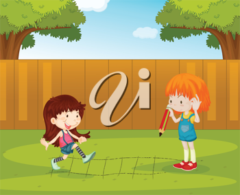 Illustration of girls playing in the backyard