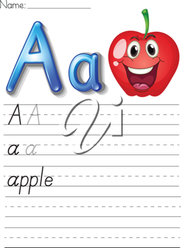 Alphabet worksheet on white paper