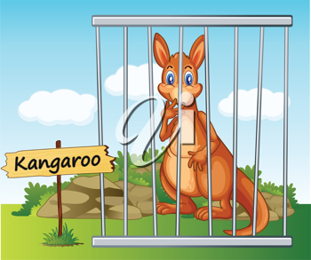 illustration of a kangaroo in cage and wooden board