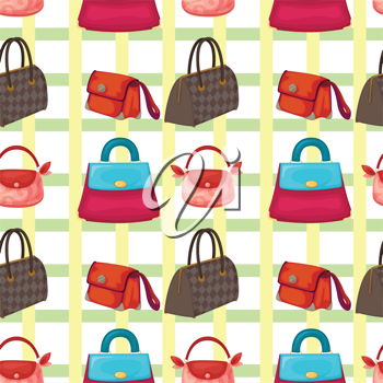 illustration of set of various bags and purses