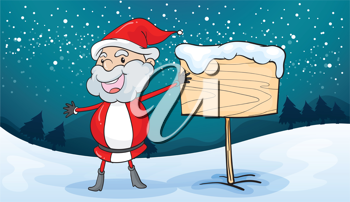 illustration of a santa claus and board in a beautiful nature