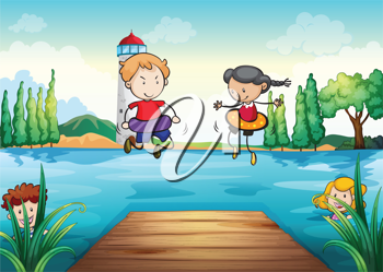illustration of kids swimming in a beautiful nature