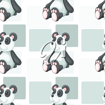 detailed illustration of panda on grey square patches