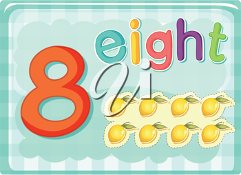 Illustrated flash card showing the number 8