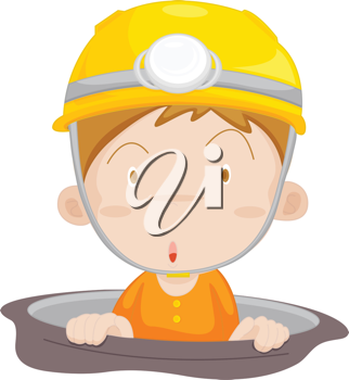 Illustration of a coalminer coming to the surface