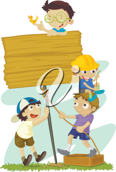 Illustration of kids building a sign