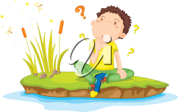 Royalty Free Clipart Image of a Boy Sitting by a River Thinking