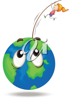 illustration of a girl playing on earth globe