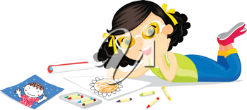 Girl in yellow glasses colouring a flower