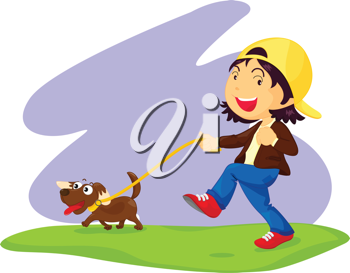 an illustration of a girl taking a dog for a walk throught the park
