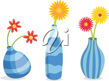 A row of three blue vases containing flowers