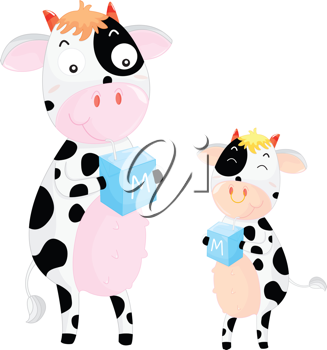 Cow and her child drinking milk form cartons