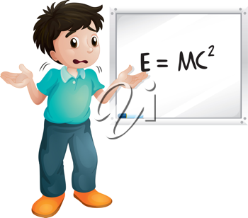 illustration of boy showing white board on white a white background