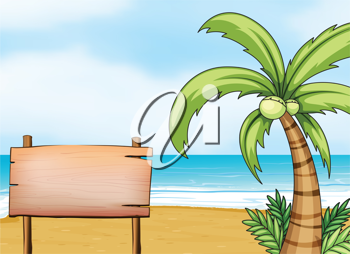 Illustration of a signboard in the seashore