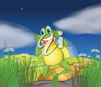 Illustration of a frog in the hills