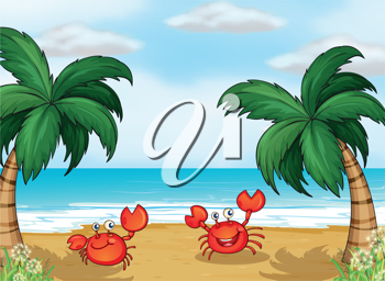 Illustration of crabs in the seashore