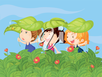 Illustration of three little kids playing in the garden