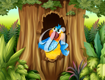 Illustration of a parrot inside a tree hollow