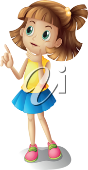Illustration of a short haired girl thinking on a white background