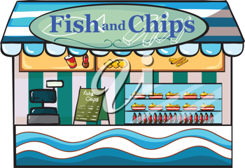 Illustration of a fish and chips shop on a white background