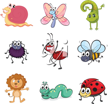 Illustration of colorful creatures on a white background