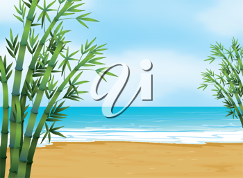 Illustration of the view of the beach