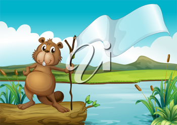 Illustration of a beaver holding a wood with an empty banner
