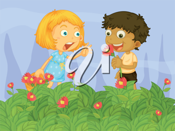 Illustration of kids picking up flowers in the garden