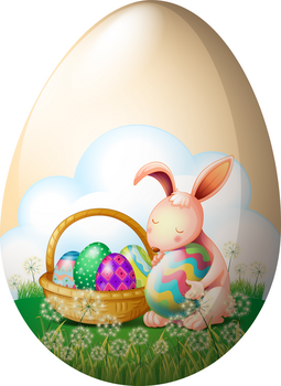 Illustration of an easter bunny with easter eggs on a white background