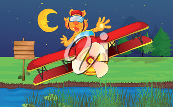 Illustration of a tiger riding in a red plane