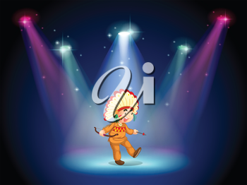 Illustration of an Indian boy dancing with spotlights