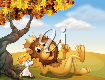 Illustration of a king lion and a mouse under the tree