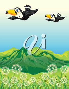 Illustration of two birds flying along the mountains