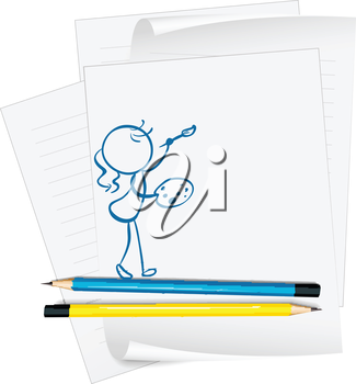 Illustration of a paper with a drawing of a girl painting on a white background