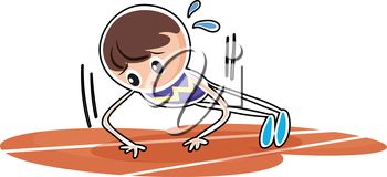 Illustration of a boy performing push ups on a white background